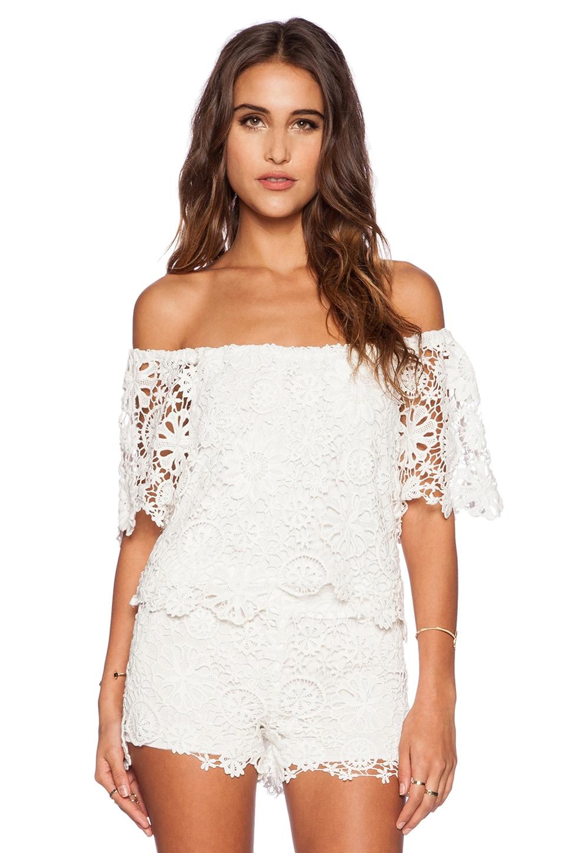 Nightcap Caribbean Crochet Crop Blouse in White