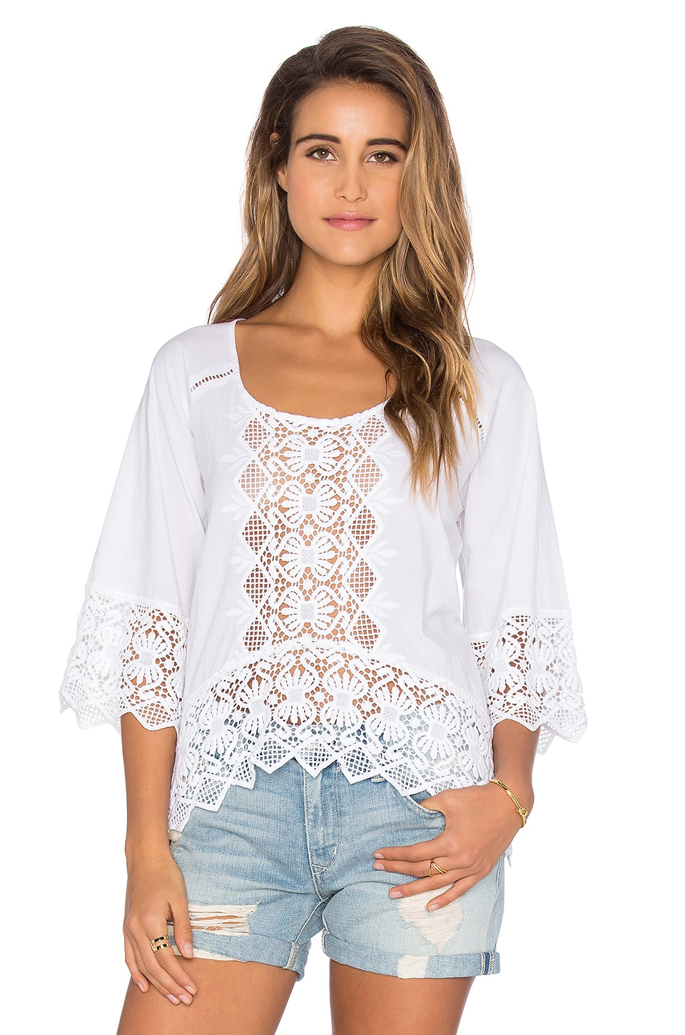 Nightcap Lace Raglan Blouse in White
