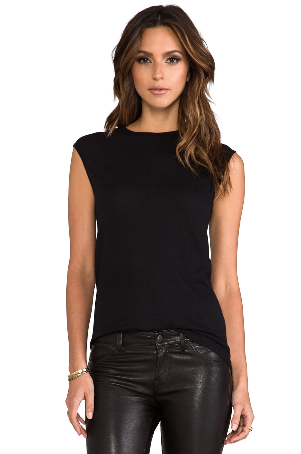 Nightcap Cap Sleeve Tunic in Black