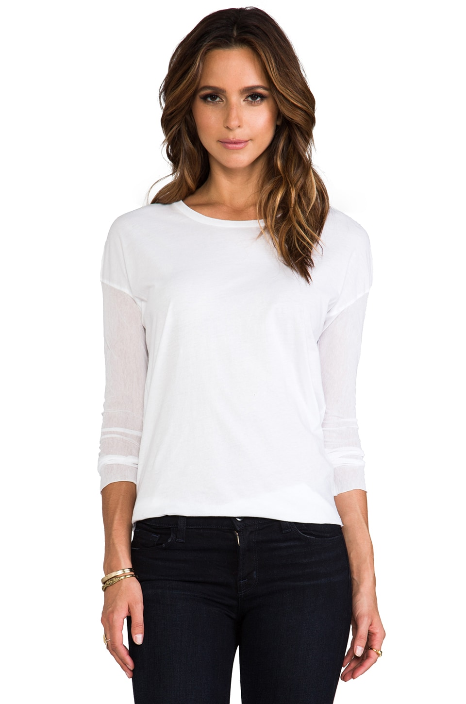 Nightcap Gauze Sleeve Tee in White