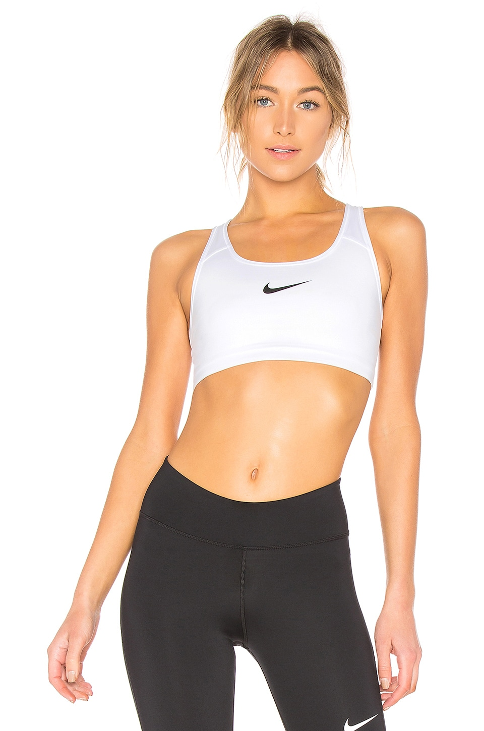 Nike Swoosh Bra in White & Black