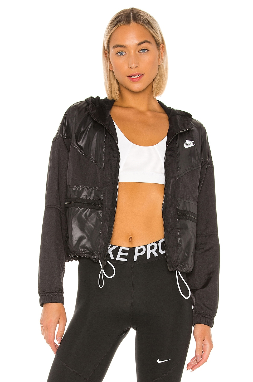 Nike NSW Windrunner Cargo Rebel Jacket in Black & White
