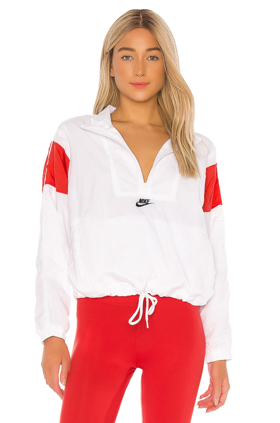 Nike NSW Woven Jacket in White, Track Red & Black