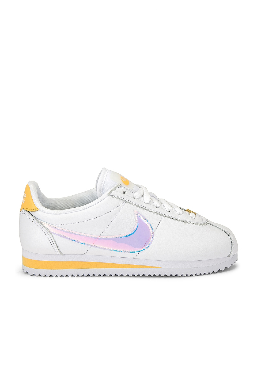 Nike Classic Cortez Sneaker in White, Clear, Topaz & Gold