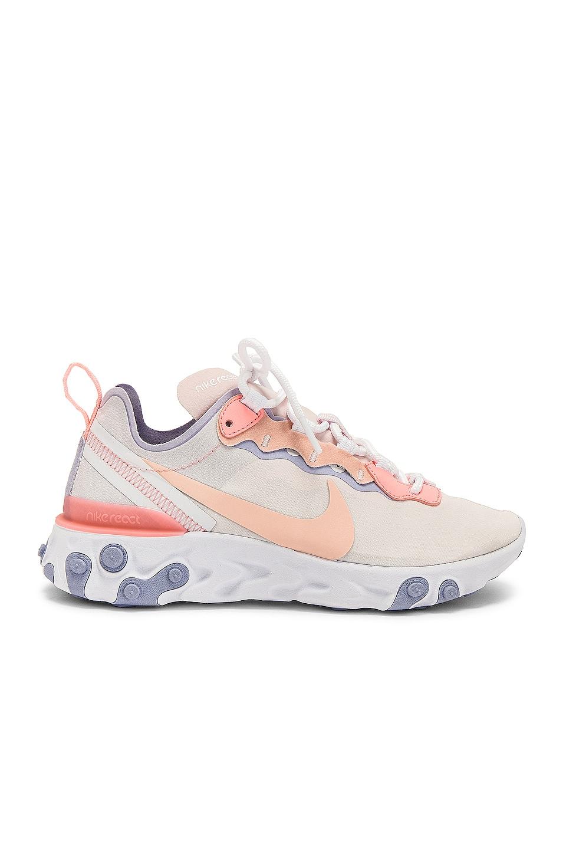 Nike Women's React Element 55 Sneaker in Pink, Coral & Purple