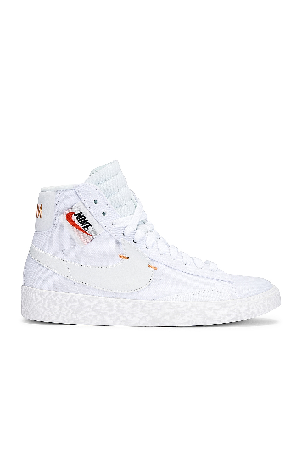 Nike Women's Blazer Mid Rebel Sneaker in White & Orange
