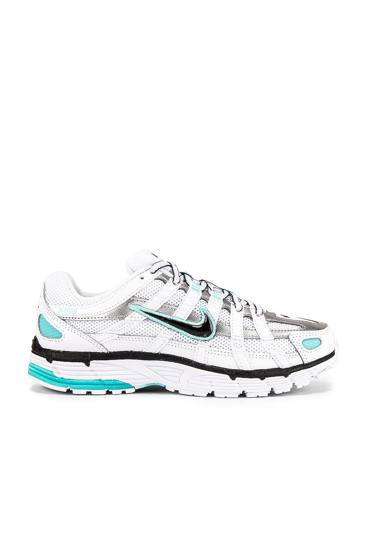 Nike Women's P 6000 Sneaker in White, Black, Metallic Silver & Light Aqua