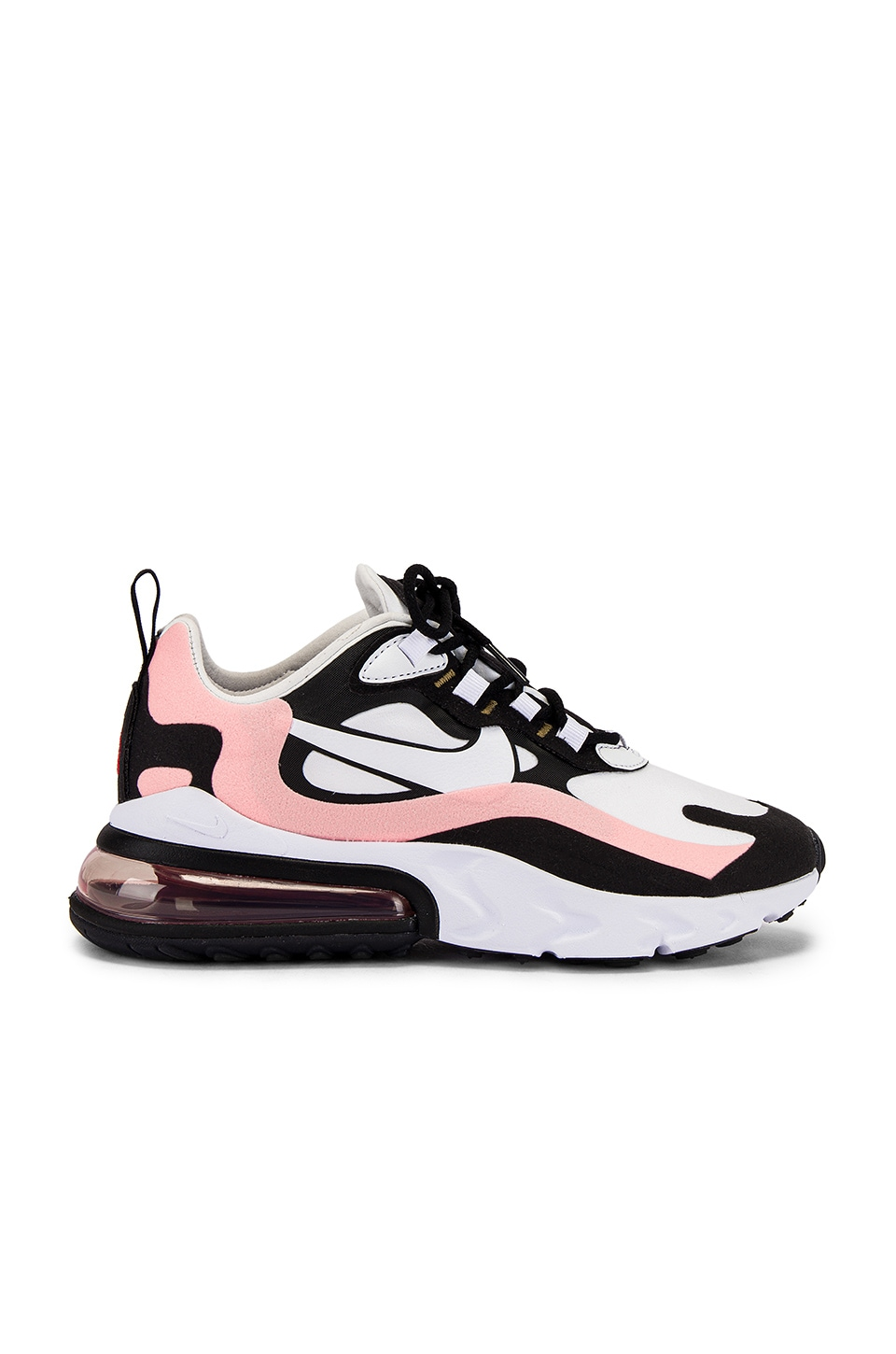 Nike Air Max 270 React Sneaker in Black, White, Bleached Coral, & Metallic Gold