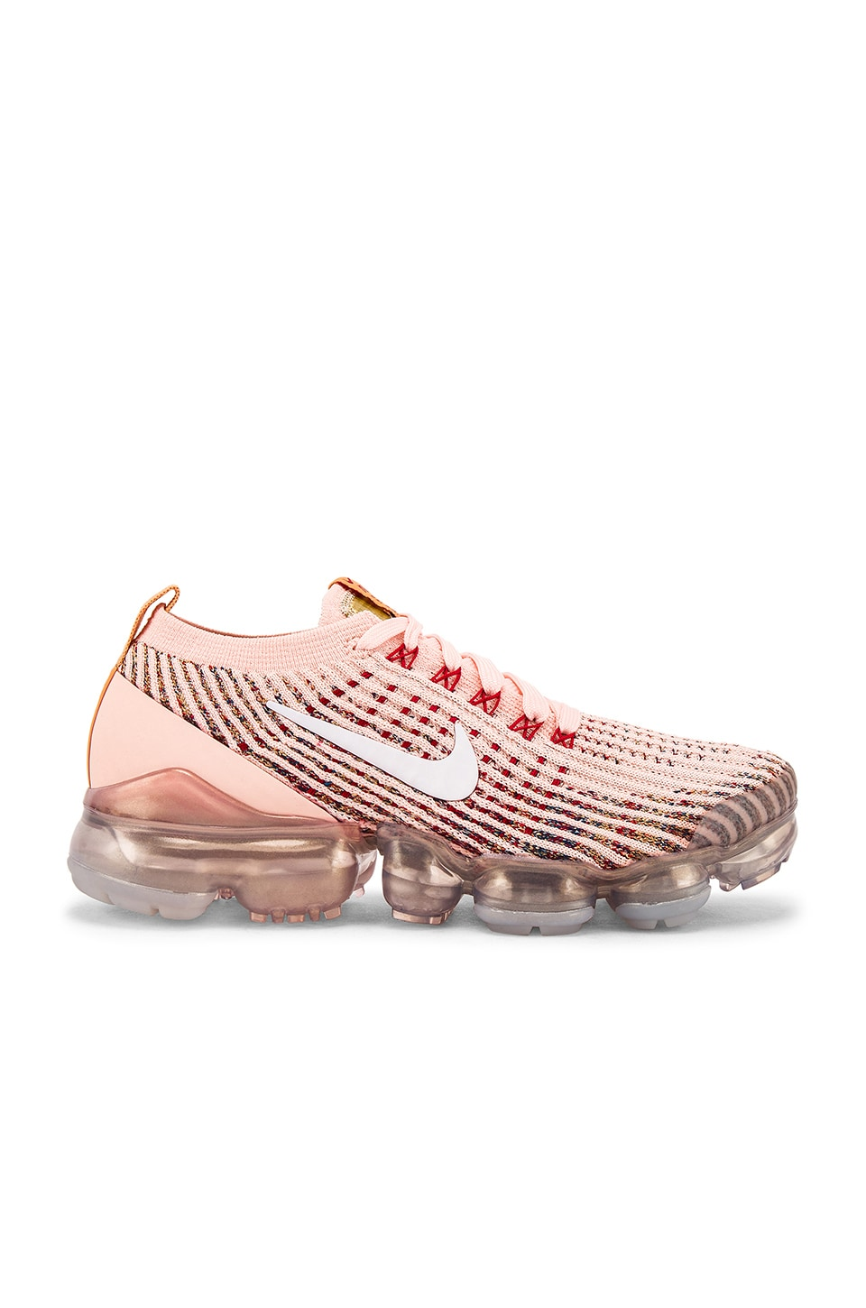 Nike Air Vapormax Flyknit 3 Sneaker in Sunset Tint, White, Blue Force & Gym Red