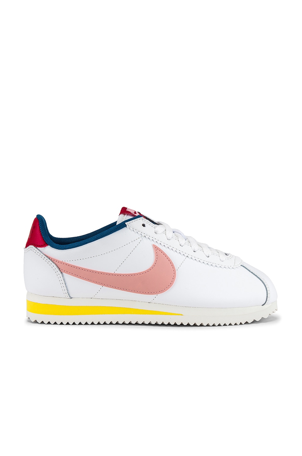 Nike Classic Cortez Leather Sneaker in Summit White, Coral Stardust, Gym Red & Chrome Yellow