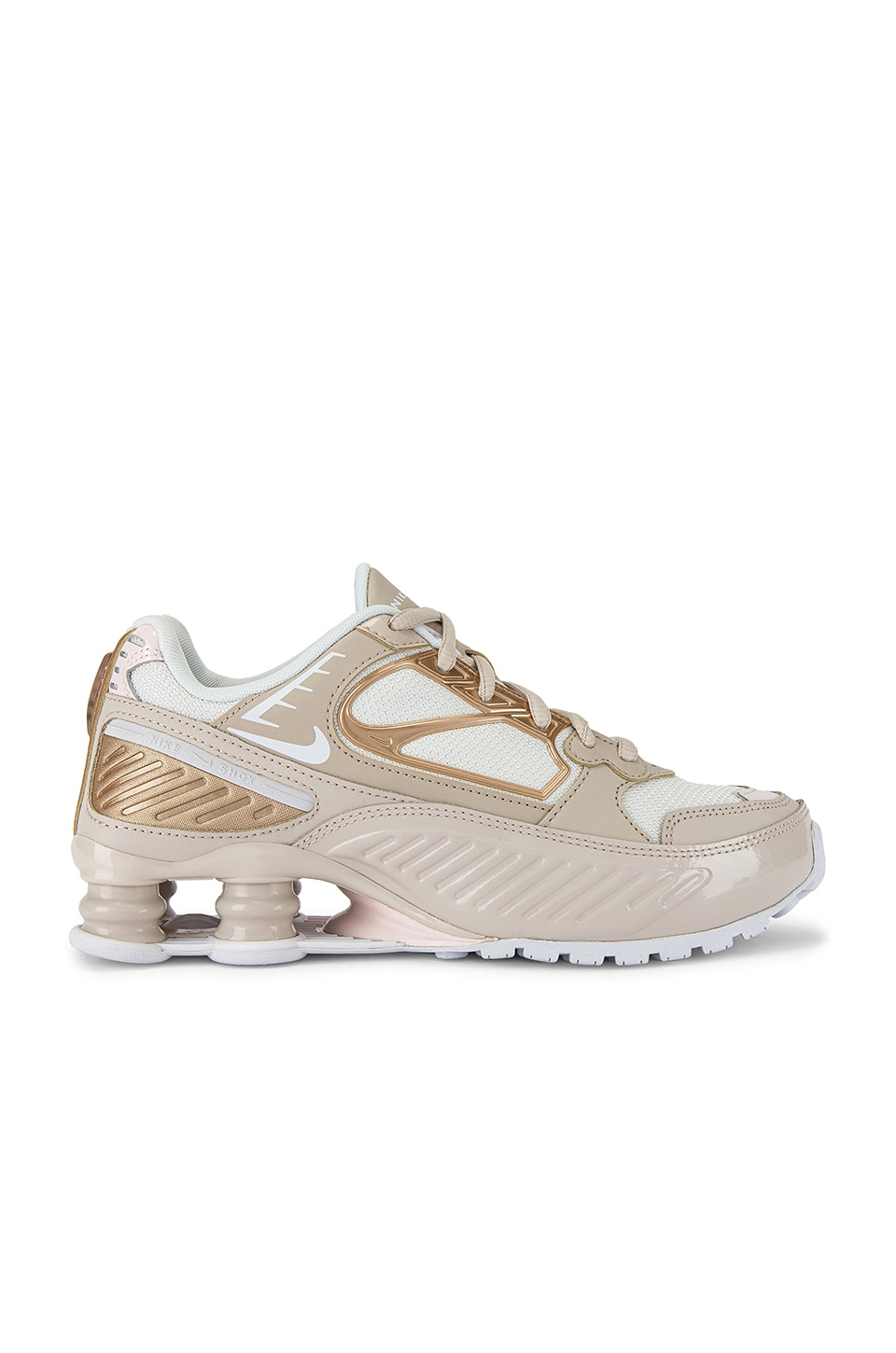 Nike Shox Enigma Sneaker in Desert Sand, White Summit & Soft Pink