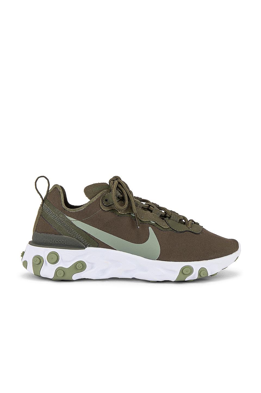 Nike React Element 55 Sneaker in Cargo Khaki & Jada Stone | REVOLVE