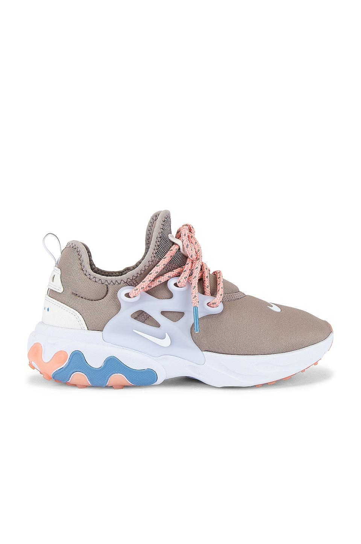 Nike React Presto Sneaker in Pumice, White, Coral Stardust & Light Blue