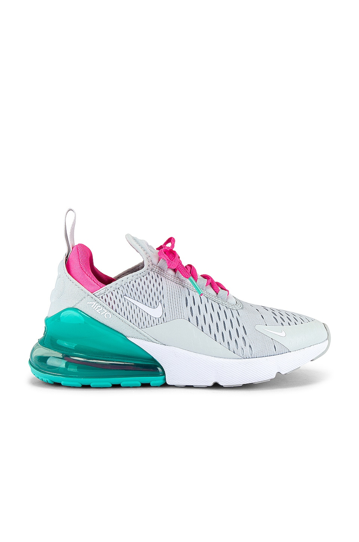 Nike Air Max 270 Sneaker in Pure Platinum, White, Pink Blast & Aurora