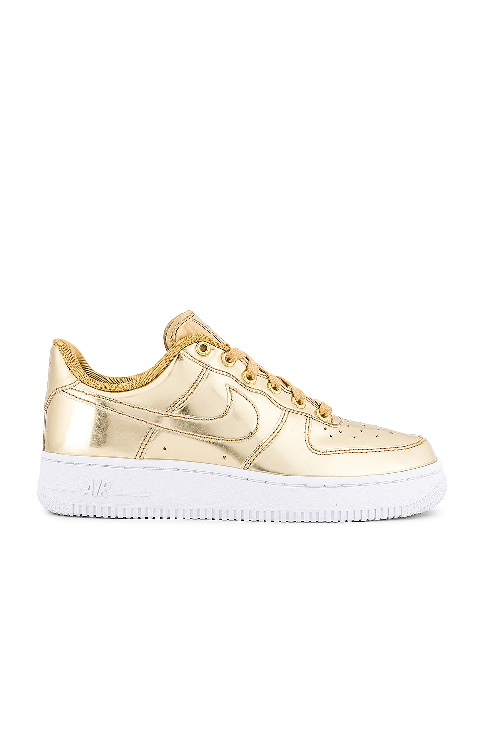 Nike Air Force 1 Sneaker in Metallic Gold, Club Gold & White