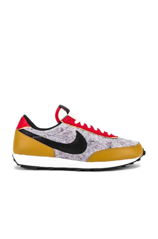 Nike Daybreak Sneaker in Gold Suede, Black, University Red & Sail