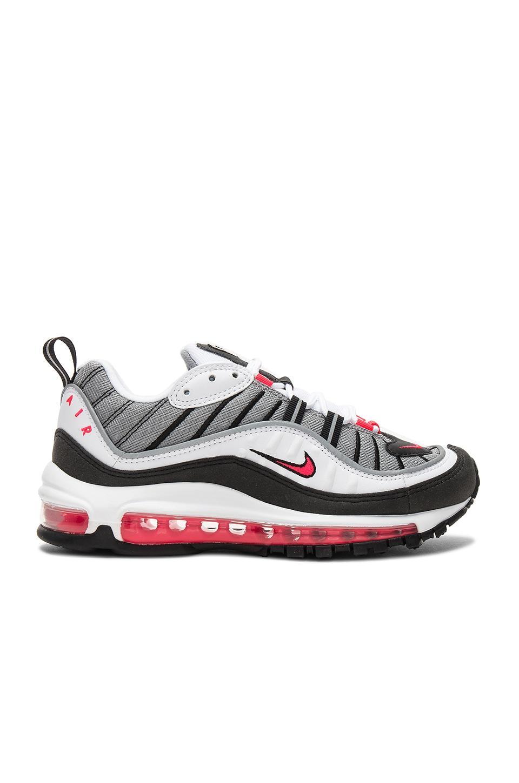15e0cc02f7 Nike Air Max 98 Sneaker in White, Solar Red, Dust & Reflective Silver
