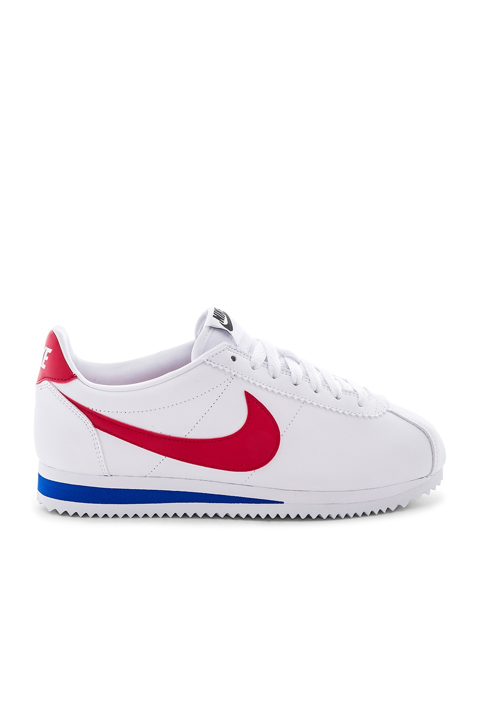 Nike Classic Cortez Leather Sneaker in White, Varsity Red & Varsity Royal