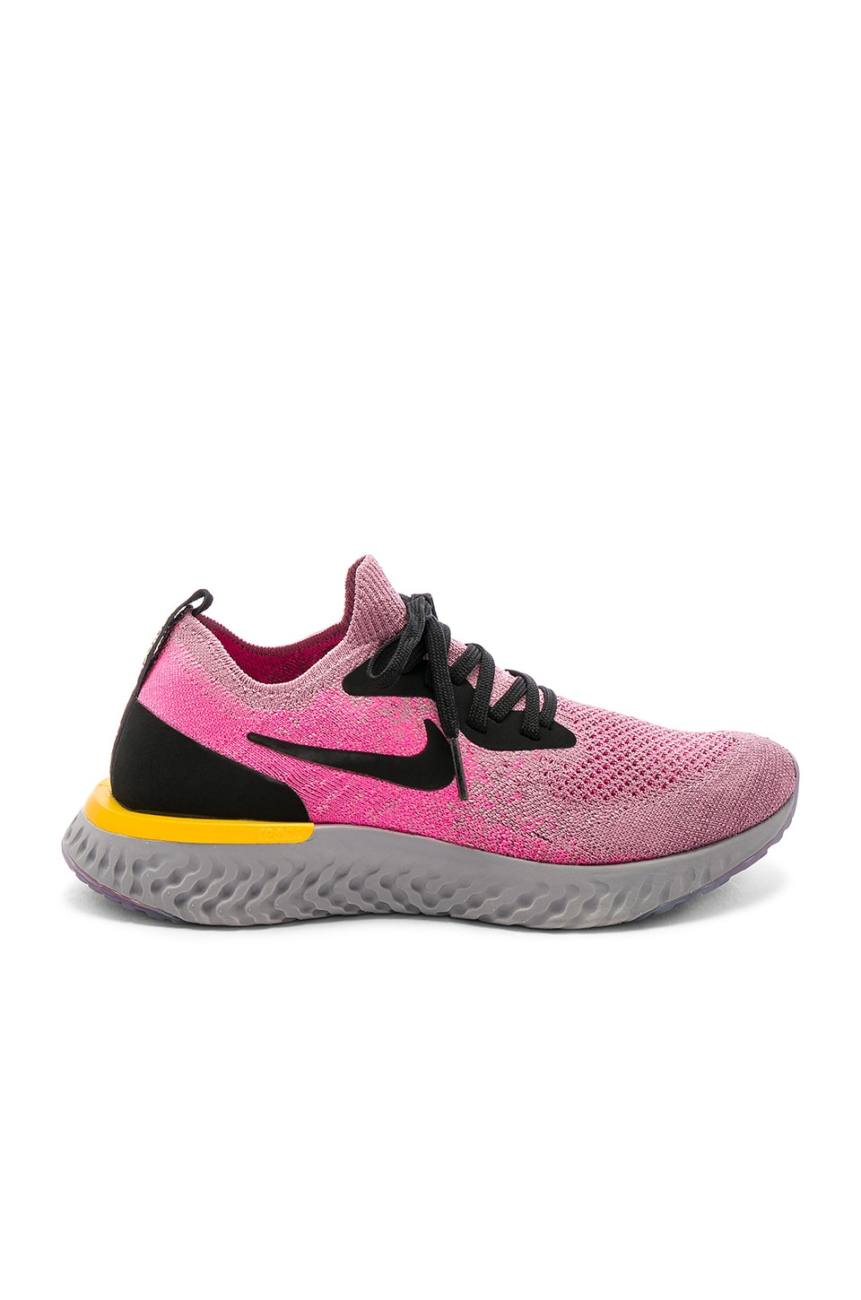 Nike Epic React Flyknit Sneaker in Plum Dust, Black & Pink Blast