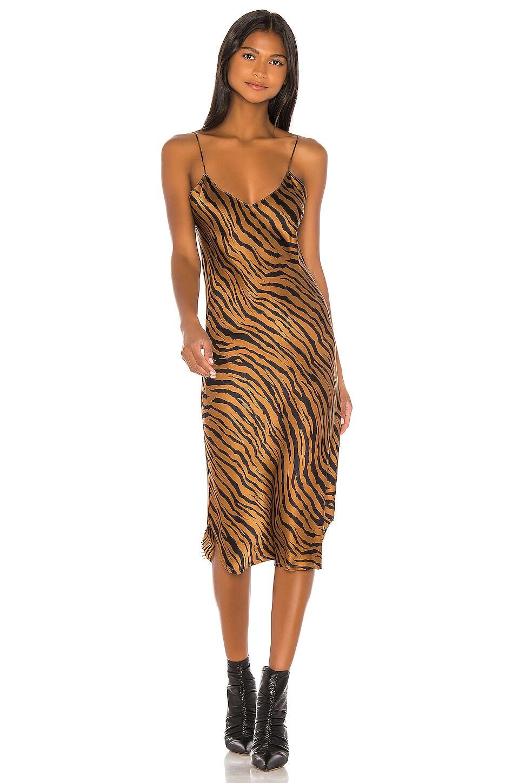NILI LOTAN Short Cami Dress in Bronze Tiger Print