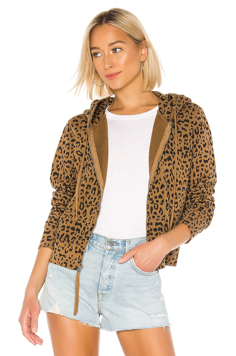 NILI LOTAN Callie Zip Up Hoodie in Whiskey Leopard Print