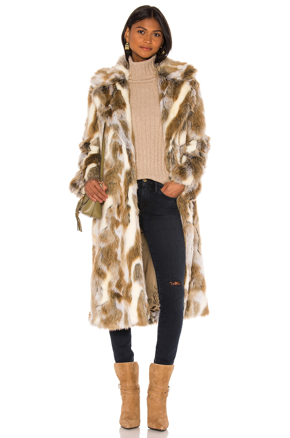 NILI LOTAN Faux Fur Simon Coat in Coyote