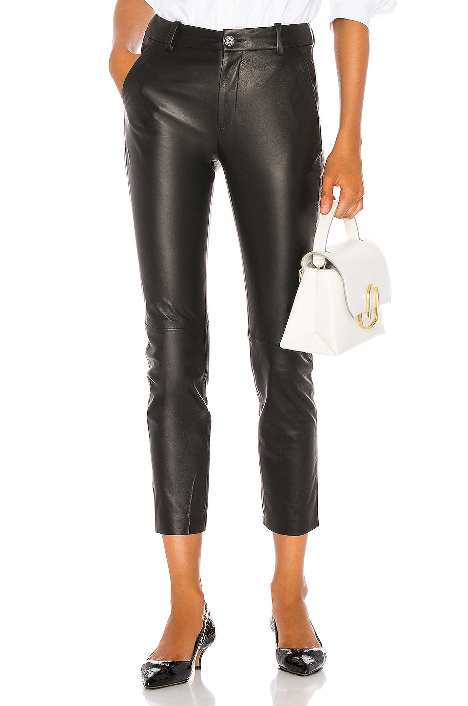 NILI LOTAN Montauk Leather Pant in Black