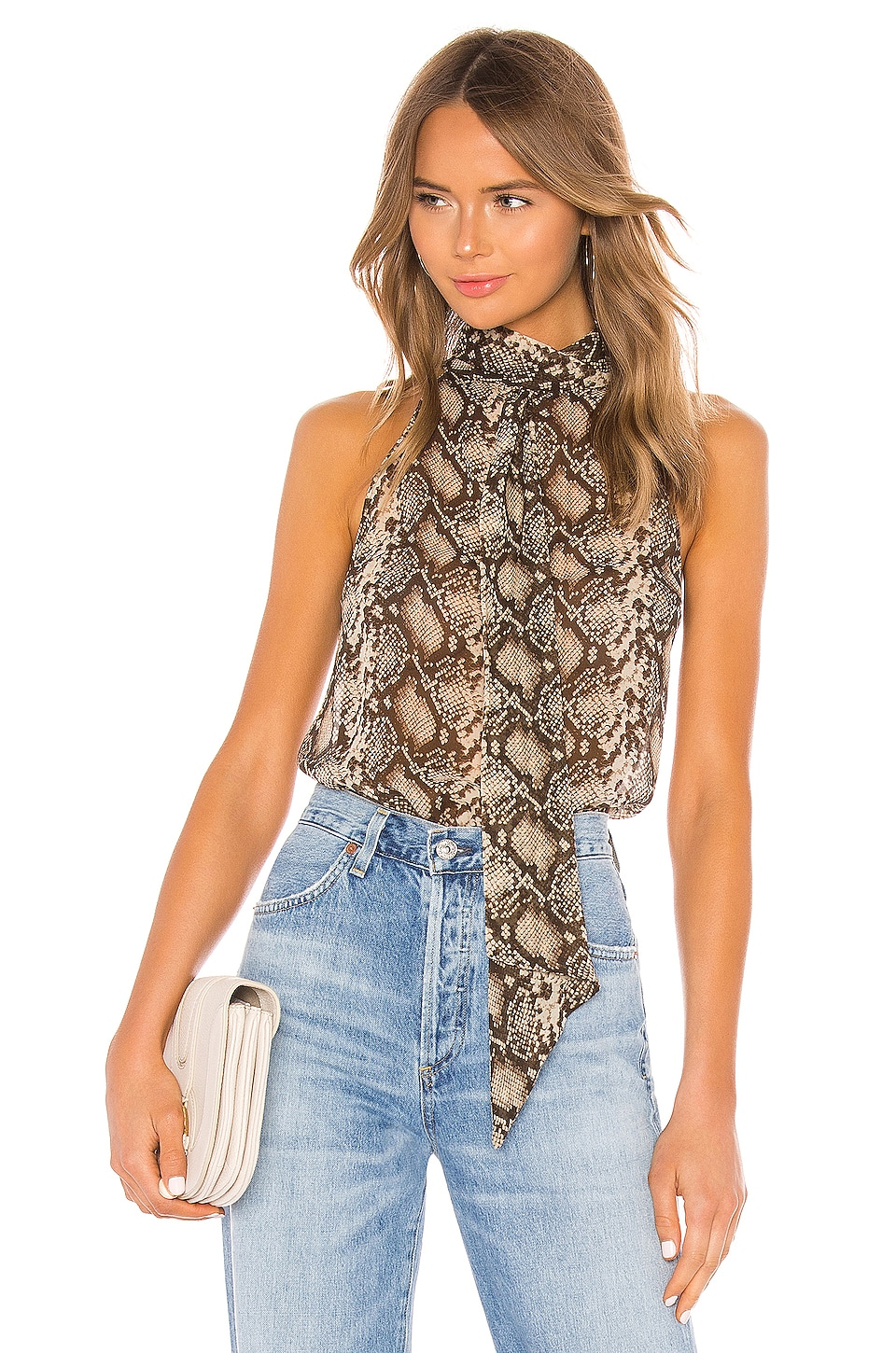 NILI LOTAN Alameda Top in Dark Brown Snake Print