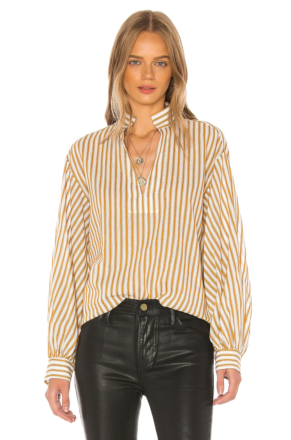 NILI LOTAN Joey Top in Ivory & Mustard