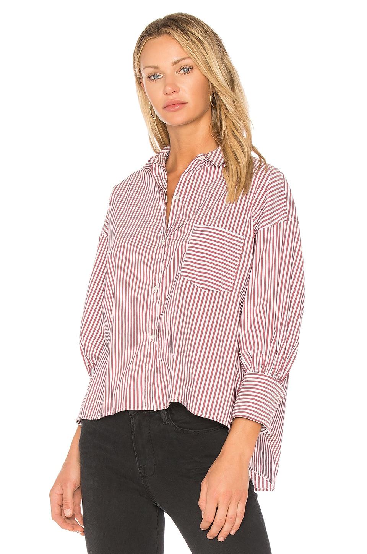 NILI LOTAN Filmore Shirt in Burgundy Stripe