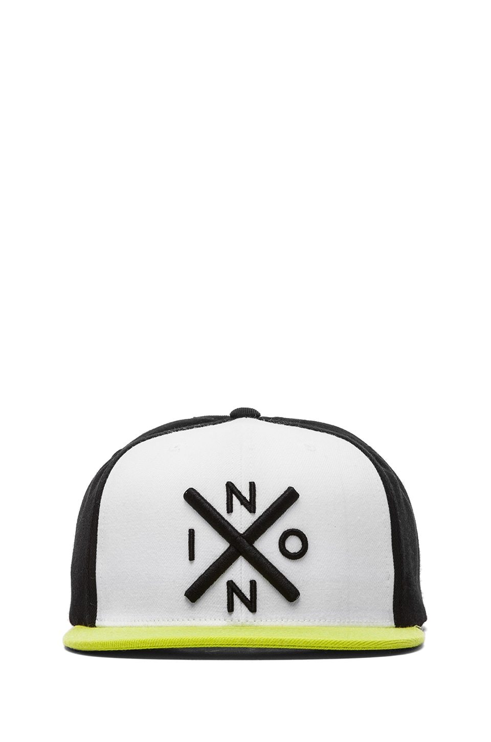 Nixon Exchange Snap Back in White & Black & Citron