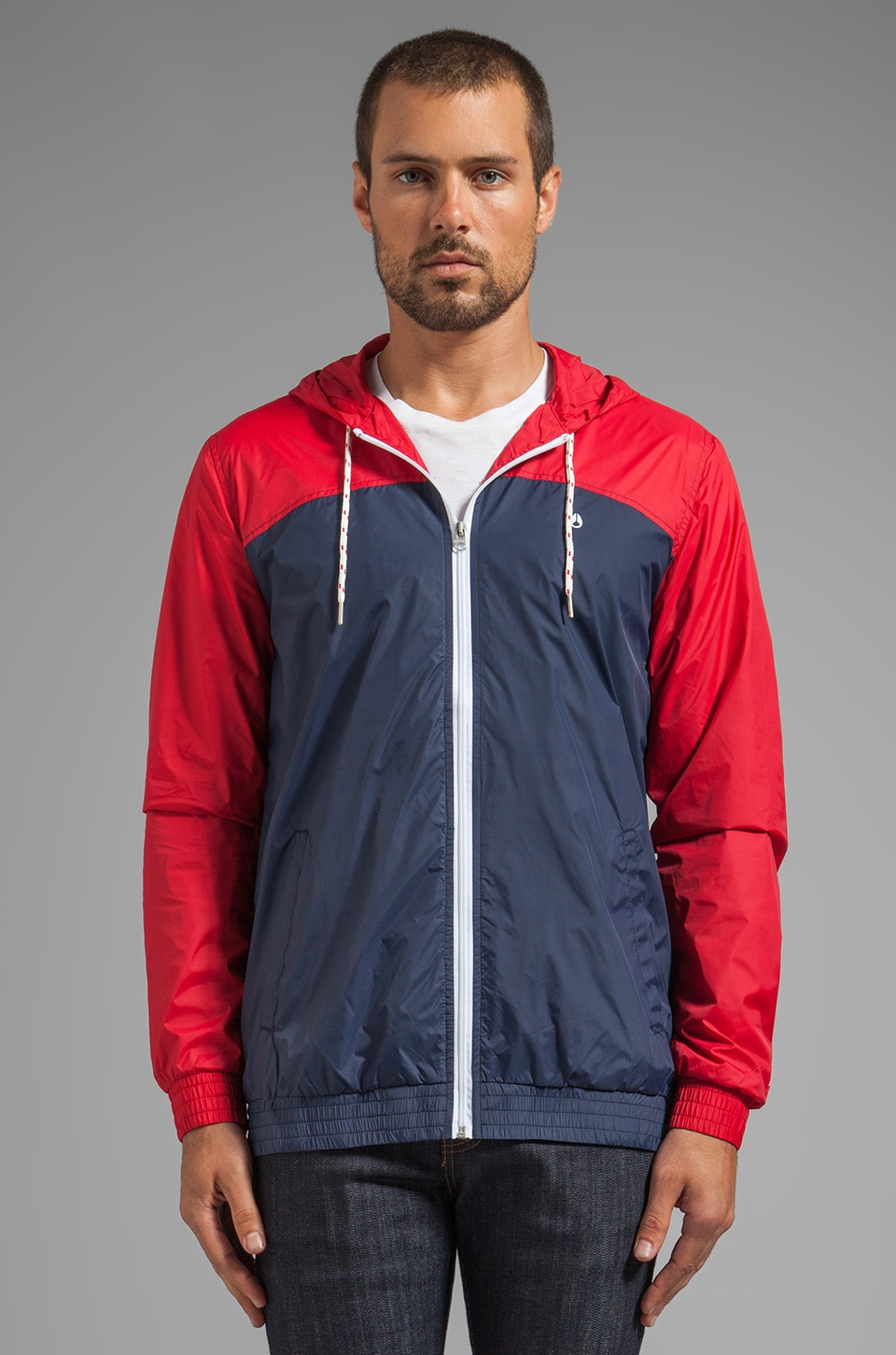 Nixon Brighton Jacket in Steel Blue/Red/White