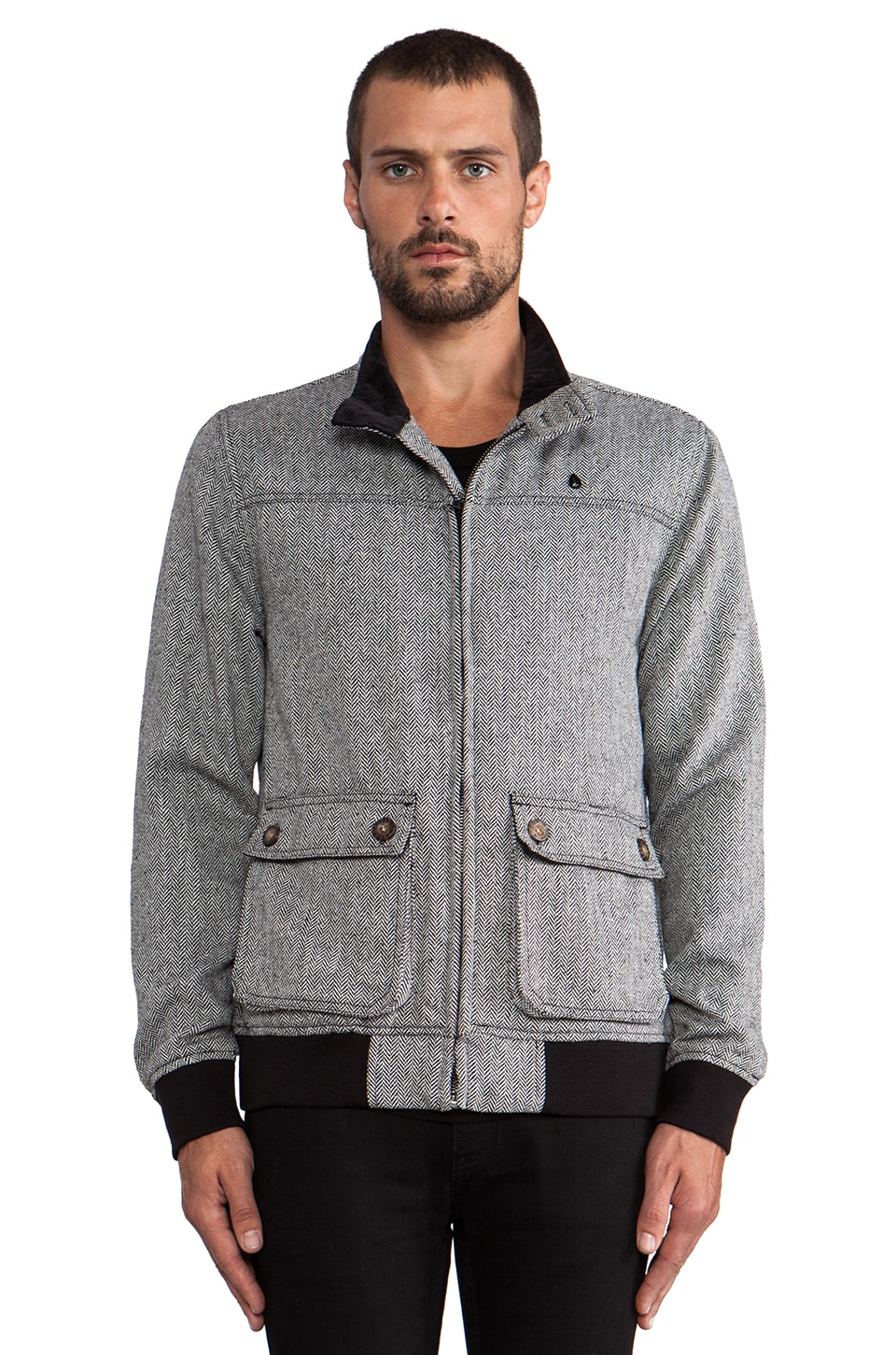 Nixon Stockton Wool Jacket in Black Herringbone