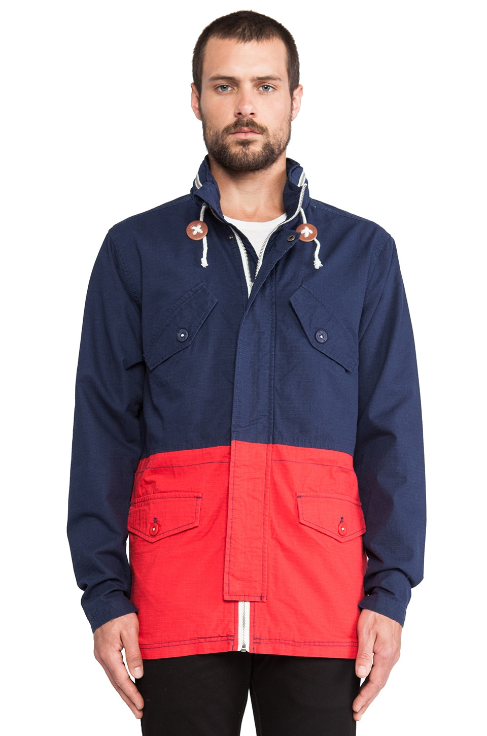 Nixon Pi Jacket in Faded Navy & Red