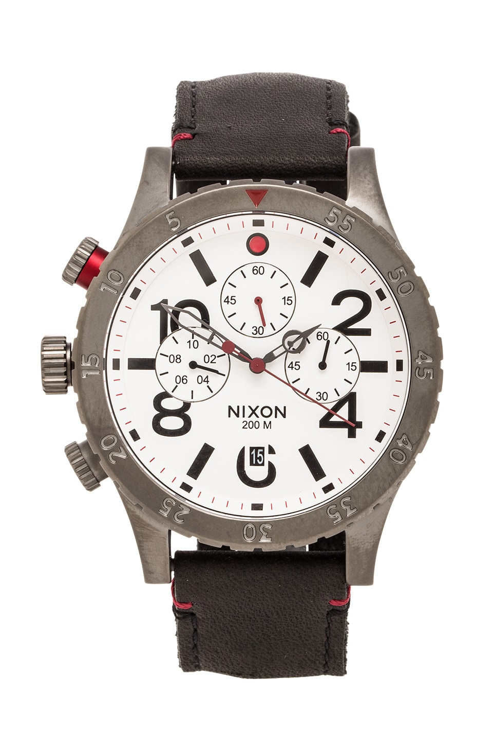 Nixon The 48-20 Chrono Leather in Gunmetal & White