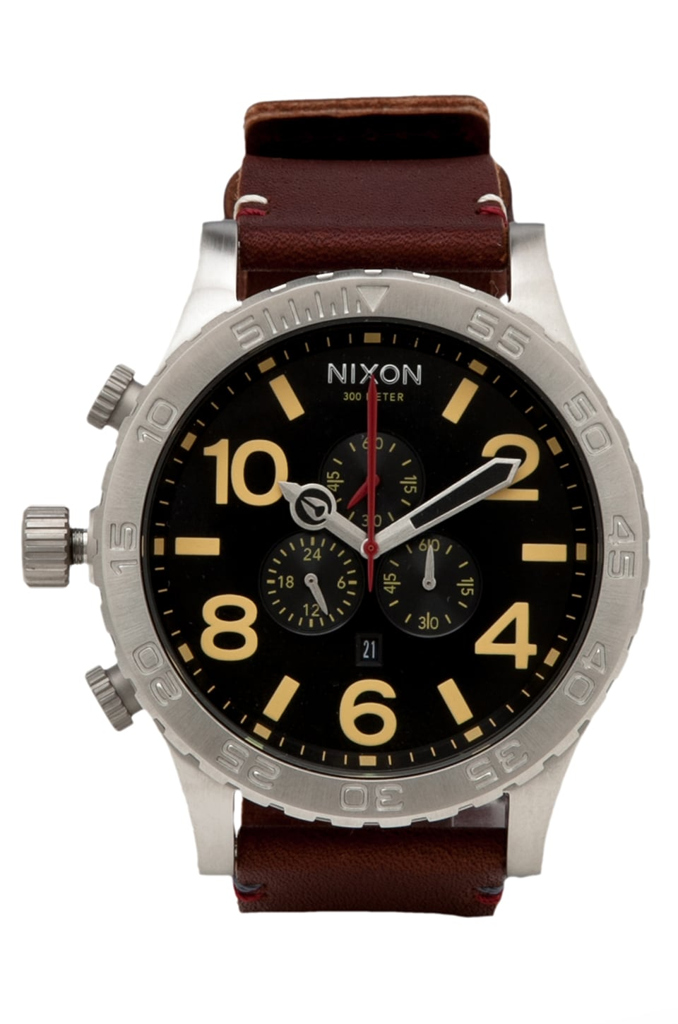Nixon The 51-30 Chrono Leather in Black/ Brown