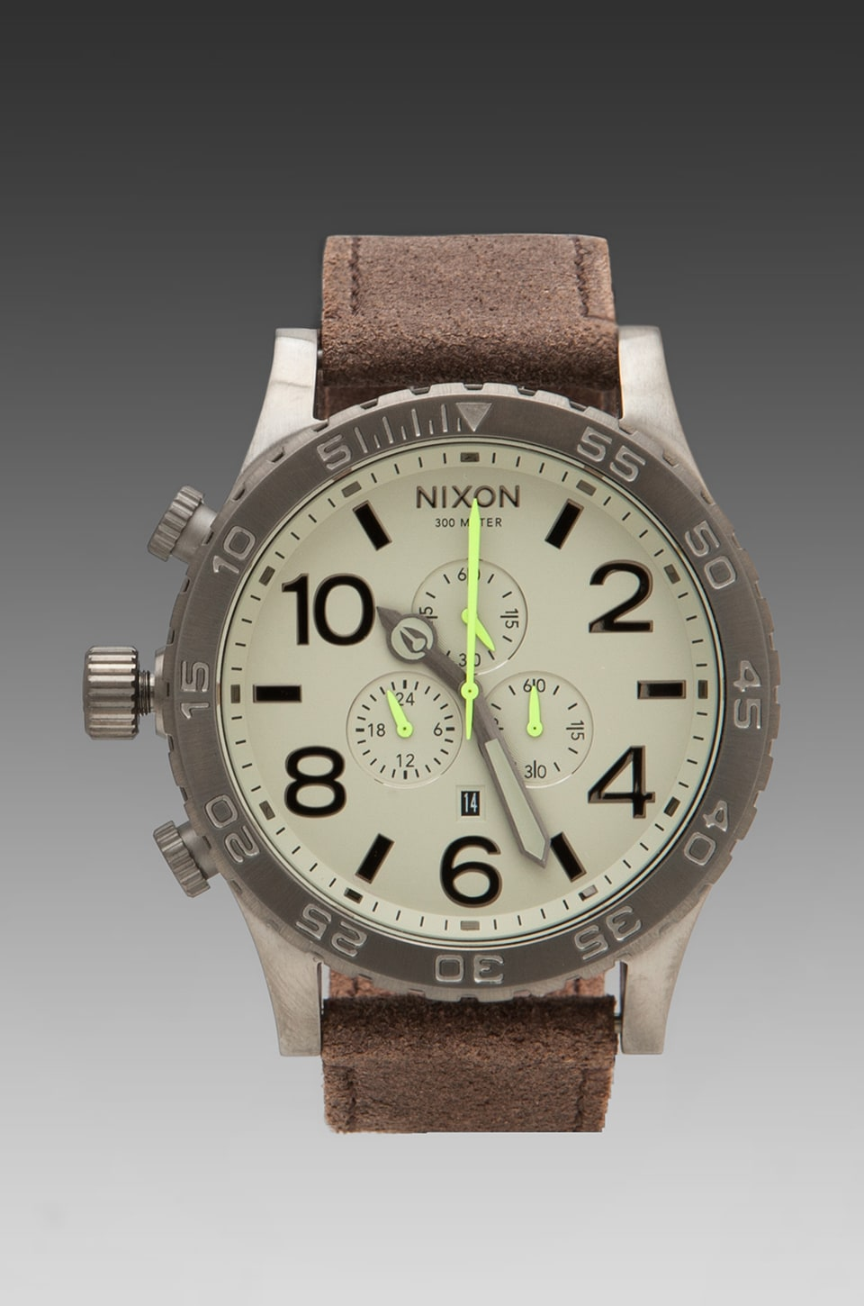 Nixon Gunsmith Collection The 51-30 Chrono Leather in Gunmetal/Brown