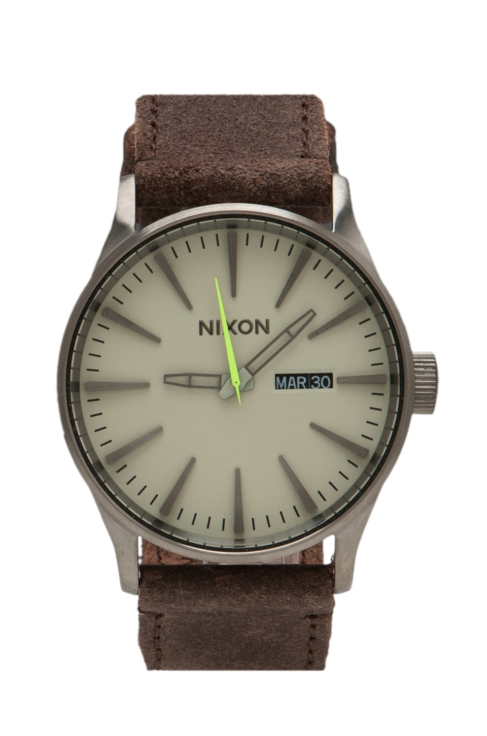 Nixon Gunsmith Collection The Sentry Leather in Gunmetal/Brown