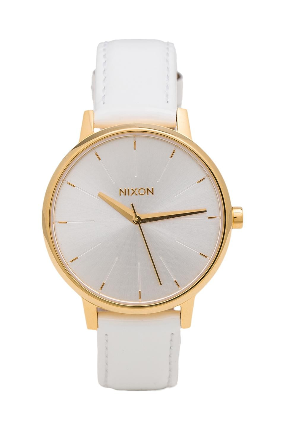 Nixon The Kensington Leather in All White & Gold Patent
