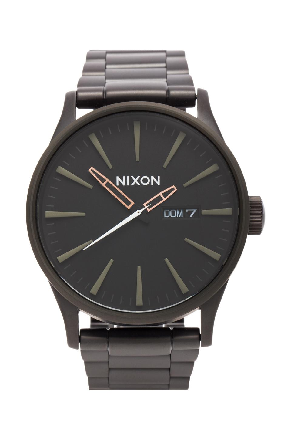 Nixon The Sentry SS in Matte Black/Industrial Green