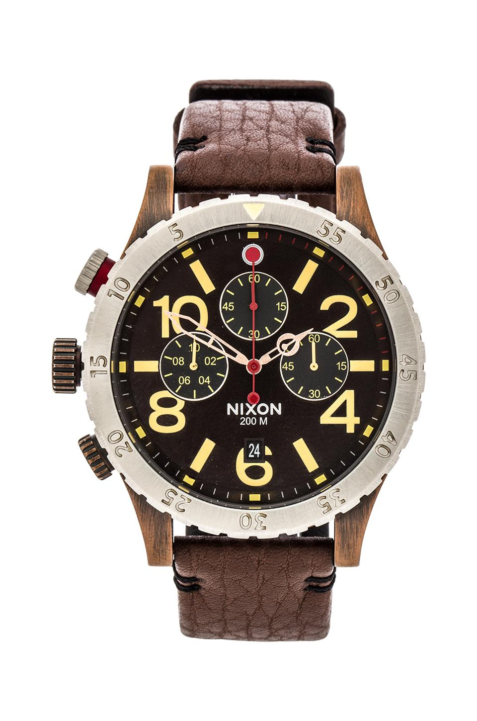 Nixon The 48-20 Chrono Leather in Antique Copper&  Brown