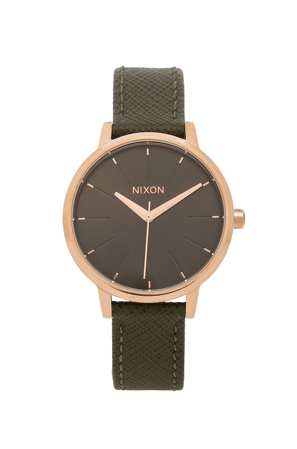 Nixon Kensington Leather in Rose Gold & Green