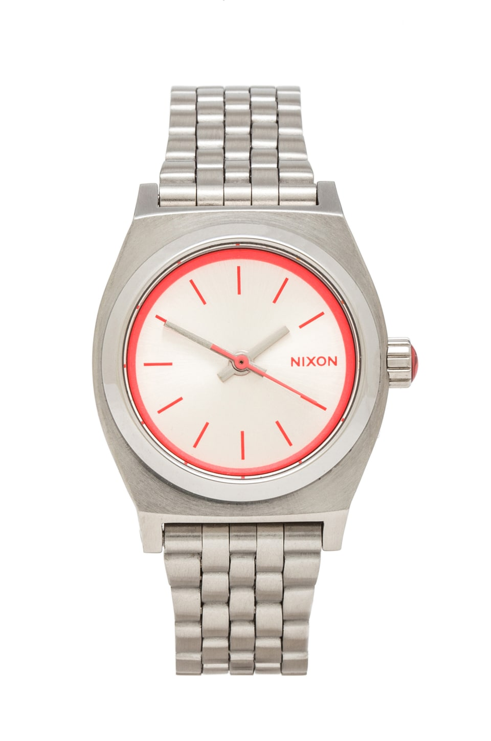 Nixon The Small Time Teller in Silver/ Neon Pink