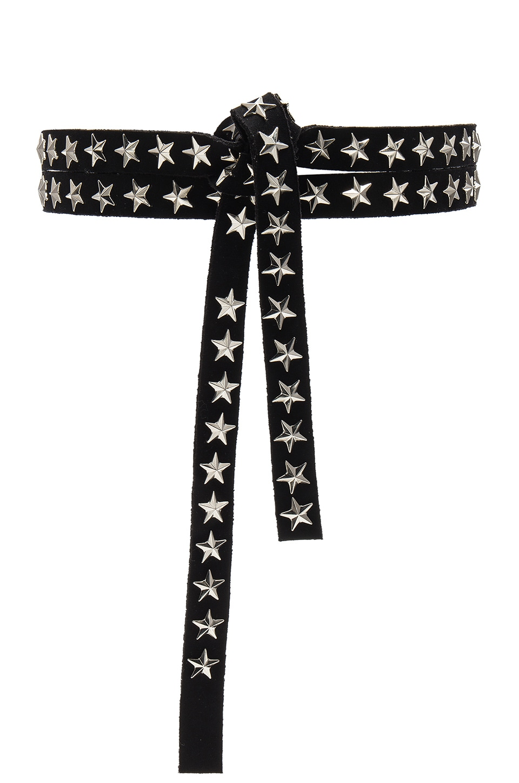 Norma Kamali Star Studded Skinny Belt in Black