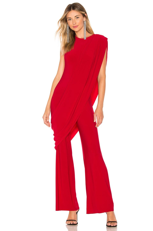 Norma Kamali Sleeveless Draped Jumpsuit in Red