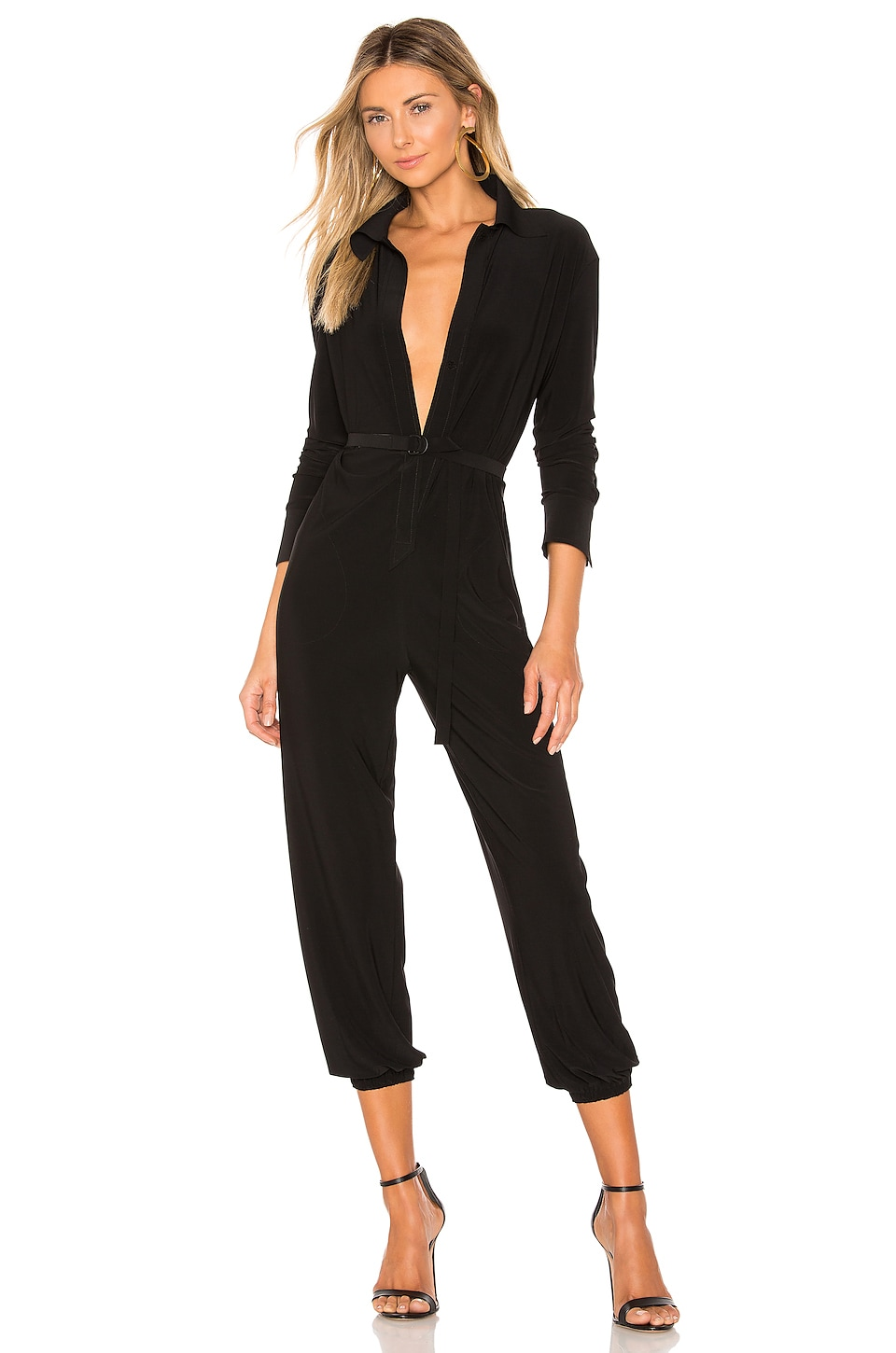 Norma Kamali Shirt Jog Jumpsuit in Black