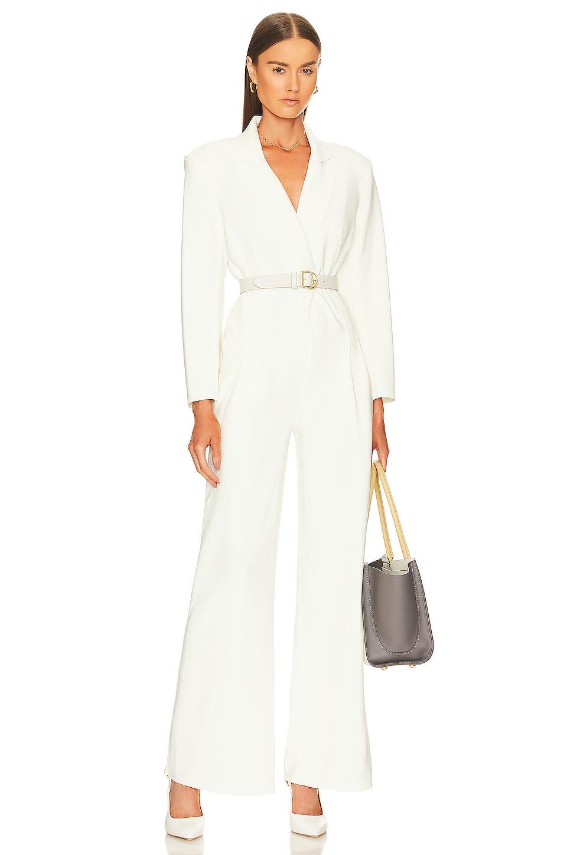 Norma Kamali Single Breasted Straight Leg Jumpsuit in Ivory