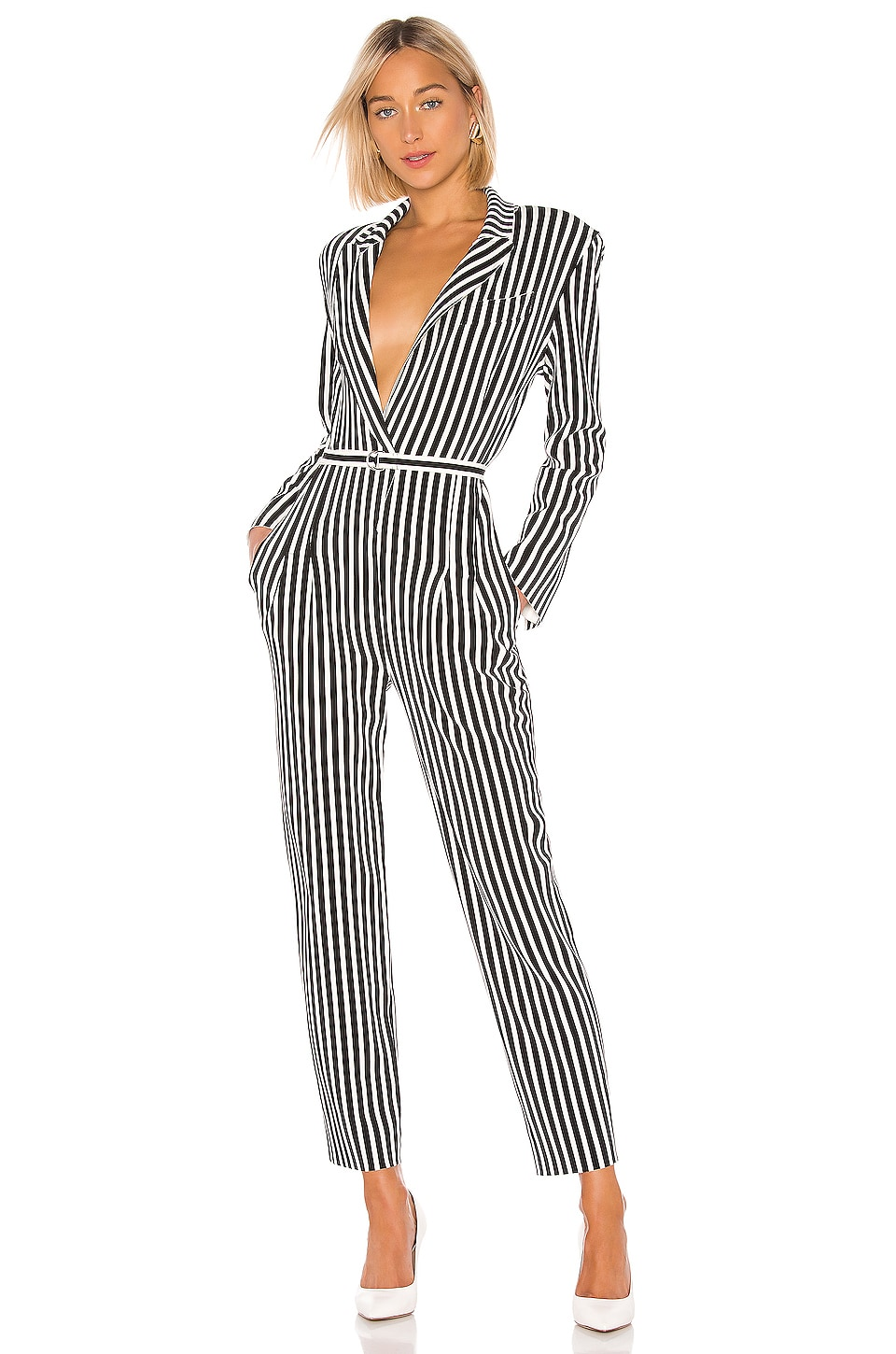 Norma Kamali Single Breasted Tapered Leg Jumpsuit in Uneven Stripe