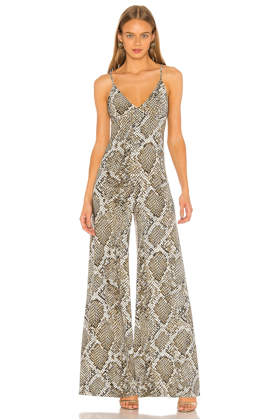 Norma Kamali Slip Jumpsuit in Scale Python