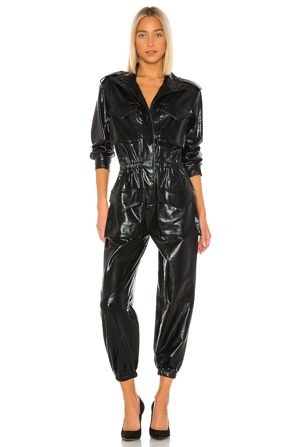 Norma Kamali Turtle Cargo Jumpsuit in Black Foil